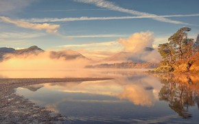 Picture autumn, fog, lake, England, morning, Cumbria
