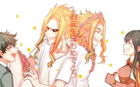 Wallpaper Boku no Hero Academy, All Might, Shimura Nana, Izuku Midoriya