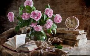 Picture flowers, books, roses, bouquet, alarm clock, still life