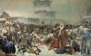 Picture oil, canvas, 1889, Klavdiy LEBEDEV, Martha Of Posadnitsa, The destruction of the Novgorod Veche