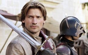 Picture sword, actor, helmet, character, Game Of Thrones, Game of Thrones