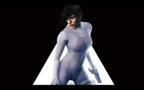 Wallpaper Scarlett Johansson, cinema, gun, pistol, mecha, weapon, movie, brunette, film, pose, suit, oppai, Ghost In ...