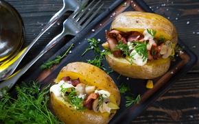 Wallpaper mushrooms, appetizer, food, potatoes, bacon, dill