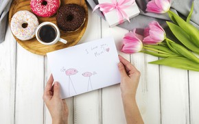 Wallpaper holiday, Love, tulips, box, flowers, postcard, gift, coffee, paper, family, floral, Mothers day