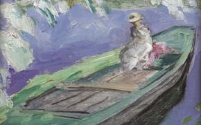 Picture girl, landscape, boat, picture, Henri Lebasque, Henri Lebacq, Boating