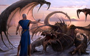 Picture mountains, dragon, man, Lord of the Water Dragon