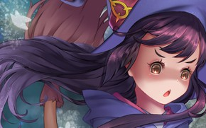 Picture girl, anime, face, asian, witch, japanese, oriental, asiatic, bishojo, broom, shounen, mahou, Little Witch Academia
