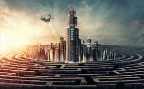 Picture mountains, fiction, home, skyscrapers, helicopter, maze, poster, The maze runner: the death Cure, Maze Runner: …