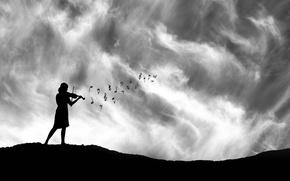 Wallpaper violin, girl, silhouette, notes