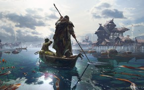 Picture boat, settlement, Fishing Village, Fall Of Gods