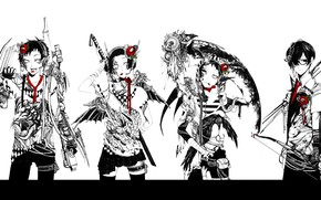Picture tiger, dragon, four, gang, Raven, cyberpunk, killer, death scythe, red Camellia, super-weapons, bow and arrow