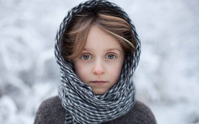 Picture winter, portrait, scarf, girl