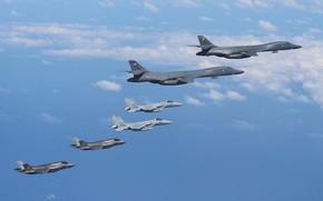 Picture the sky, flight, F-35B, F-15s, Rockwell B-1B Lancers