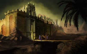 Picture mountains, palm trees, camel, fortress, The Wall