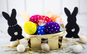 Picture colorful, Easter, happy, spring, Easter, eggs, holiday, bunny, the painted eggs