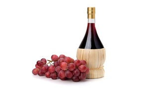 Picture red, wine, bottle, grapes, bunch, white background