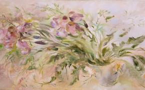 Picture pink background, Still life, purple flowers, violet, Sfumato, gift painting, Petrenko Svetlana, spring style