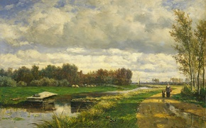 Wallpaper Willem Roelofs, picture, oil, canvas, The landscape around the Hague