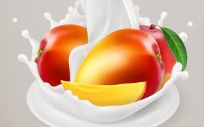 Picture background, milk, leaf, mango