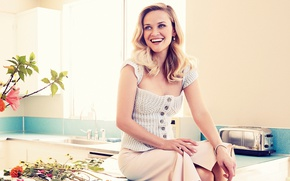 Wallpaper flowers, smile, skirt, makeup, actress, hairstyle, blonde, kitchen, jacket, photoshoot, 2014, Reese Witherspoon, Reese Witherspoon, ...