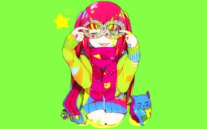 Picture cat, girl, bright colors, eight