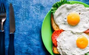 Picture greens, knife, plug, scrambled eggs, tomato