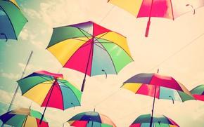 Picture summer, the sky, colors, umbrella, colorful, umbrellas, rainbow, summer, flying, umbrella