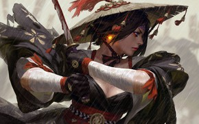 Picture Samurai, face, girl, sword, brunette, weapon, blood, blue eyes, rain, kimono, fantasy, mouth, warrior, artwork, ...