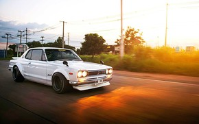 Picture Auto, Road, White, Machine, Nissan, Movement, 1971, Nissan, Lights, Car, 2000, Skyline, Nissan Skyline, 2000GT, …