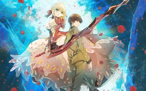 Picture girl, art, guy, two, the saber, fate/extra last encore
