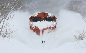 Picture winter, snow, train, the front, cleansing