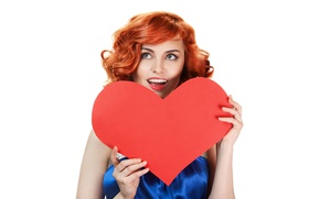 Picture girl, red, makeup, dress, hairstyle, white background, beautiful, heart, redhead, Valentine's day