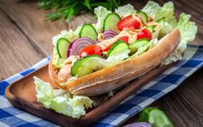 Picture bow, sandwich, sauce, cabbage, cucumbers, tomatoes-cherry