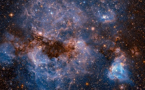 Wallpaper space, stars, NASA, The Large Magellanic Cloud, photos from Hubble, dwarf galaxy of type SBm, ...