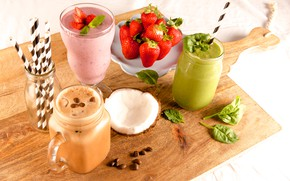 Picture berries, coconut, strawberry, drinks, coffee beans, smoothies