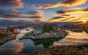 Picture the sky, sunset, lake, rocks, house, Norway, Bjоrkeland, Bjоrn Peder