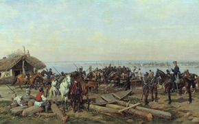 Picture boat, oil, horses, Canvas, 1880, Pavel KOVALEVSKY, Crossing the Danube