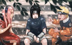 Picture naruto, art, team 7, Uchiha Sasuke, Haruno Sakura, Uzumaki Naruto, by BlackMarlb0r0