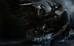Wallpaper weapons, wings, Horse, armor, black, spear, knight