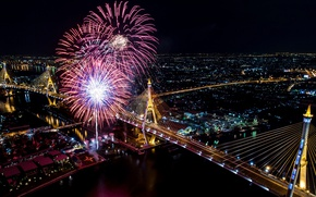 Picture night, bridge, lights, salute, fireworks, Thailand, Bangkok