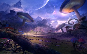 Picture mushrooms, planet, art, fantasy