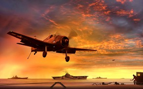 Picture sunset, Grumman, The carrier, WW2, aviation, deck, landing on the deck, American, Combat aircraft, F6F-5, …