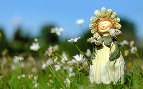Wallpaper grass, summer, figure, doll, field, chamomile, flowers