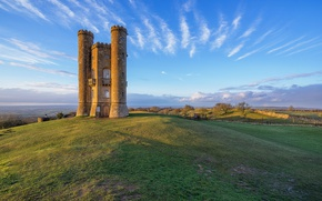 Picture the sky, clouds, England, tower, hill, Broadway Tower, Middle Hill