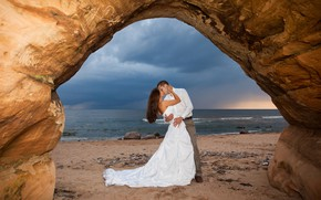 Picture sand, sea, beach, the sky, girl, love, joy, happiness, landscape, clouds, stones, kiss, dress, horizon, …