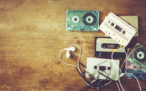 Wallpaper retro, music, music, headphones, retro, headphones, cassettes, cosity