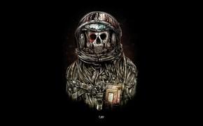 Wallpaper skull, costume, astronaut, death, the suit