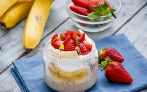 Picture strawberry, banana, yogurt, oatmeal
