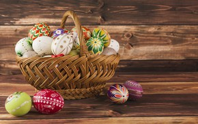 Picture holiday, basket, eggs, Easter