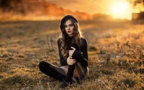 Picture the sun, nature, pose, shorts, boots, makeup, hairstyle, brown hair, beauty, jacket, sitting, takes, on …